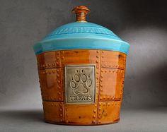 Dog Treat Jar Ready To Ship Treats Brown Sheet Metal Dog Treat Jar by Symmetrical Pottery