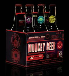 We decided not to do advertising, but to launch a beer brand: Monkey Beer.   6 different beers inspired by some of the most amazing stories in music history.