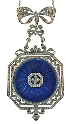 A Lady's Platinum, Diamond and Enamel Pendant Watch, circa 1900, by Spaulding & Co., Chicago. Made in France, movement possibly by Patek Philippe.