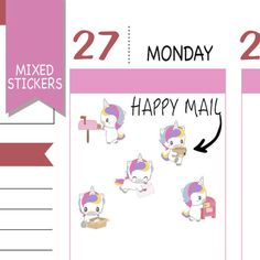 Mixed Happy Mail Stickers Happy Mail Planner by EmelysPlannerShop Unicorn Stickers, Kawaii Stickers, Cute Stickers, Cute Planner, Happy Planner, New Sticker, Sticker Paper, Printable Planner, Planner Stickers