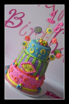Sweet 16 cake another use of fun color combinations