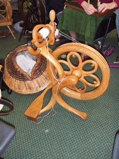 "Derbyshire Guild of Weavers Spinners & Dyers: May 2010 ""One of Jean Grooms lovely hand carved spinning wheels."""