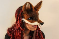 Fox Mask. Hand made to order woodland art mask by AnotherEarthling
