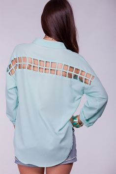 MINT CHIFFON ROLLED SLEEVES BUTTON DOWN HI LOW TOP