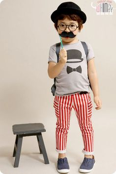 Moustache Pin and Stripes Pants. Great spring pants for boys and girls aged 1-8 at Color Me WHIMSY.