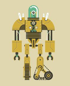 I like how detailed the legs are on this robot. The two different kinds of legs also give this robot a really cool look. Cool Robots, Robots For Kids, Art For Kids, Robot Illustration, Character Illustration, Graphic Illustration, Vector Robot, Vector Art, Robot Images