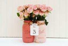 Wedding Reception Decor, Centerpiece - PEONY PINK - Spring, Summer, Rustic Wedding, Shabby Chic Wedding: Mason Jar Centerpiece, Painted