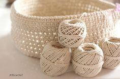 Crochet rope basket {the big model} - AtelierNat -Creative design & creative leisure-, Crochet Stitches Free, Crochet Diy, Crochet Rope, Crochet Gifts, Crochet Patterns, Rug Patterns, Macrame Patterns, Crochet Hat For Women, Crochet Baby Hats