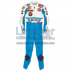 Luca Cadalora Garelli GP 1986 Motorcycle Suit for $629.30 - https://www.leathercollection.com/en-we/luca-cadalora-1986-motorcycle-suit.html