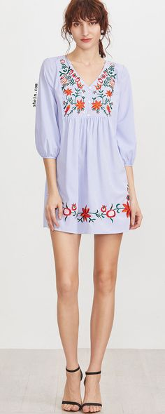 0dba5828e7b7d5 Blue Striped Button Front Lantern Sleeve Embroidered Dress Chicago Outfit