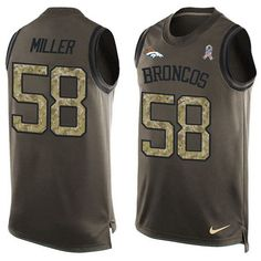 Nike #Broncos #58 #Von #Miller Green Men's Stitched #NFL Limited Salute To Service Tank Top #Jersey