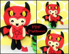PDF Pattern  Little Devil Girl Felt Doll by EmmaIrlamCrafts