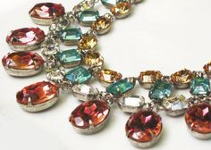 OOAK Rhinestone Bib Necklace & Earring Set in Aqua by RewElliott