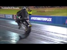 Rider walks away unharmed after flipping drag racing motorcycle