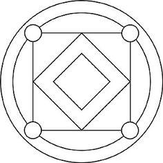 Mandala für Kinder mit Quadrate und Kreise