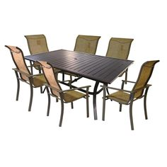 Outdoor furniture is here  This dining set is the perfect spot for a  backyard barbecueThe Belize 7 Piece Outdoor Dining Set features a mosaic tile top  . Outdoor Dining Chairs Only. Home Design Ideas