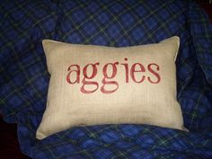 Aggies Stenciled Pillow on Etsy by BurlapEtc.