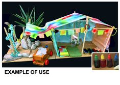 School holiday fun with food dyes and Island Cabana Base Camp tent kit Camping Games, Camping Activities, Craft Kits, Diy Kits, Tent Fabric, Food Dye, Rainy Day Activities, Miniature Crafts, Kits For Kids