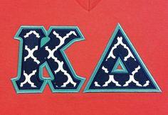 Sorority Greek Letters - Navy Quatrefoils Fabric