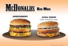 The advertised burger vs. an actual McDonald's Big Mac burger