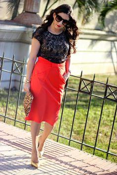Hight Waist Orange Skirt