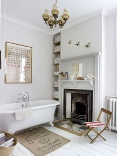 a fireplace in the bath