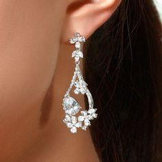 Fancy Dangle CZ Clear Wedding Earrings Chandelier Pierced Ears Bridal Formal New | eBay