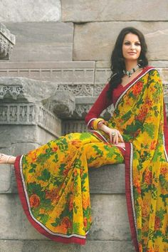 Traditional Printed Party Saree; Amber Yellow and Sea Green Faux Georgette Printed Casual and Party Saree