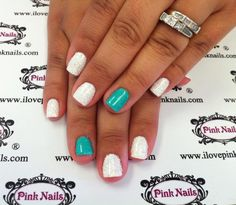 Teal and White Rock Star Nails