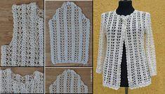 Elegant Jacket for Girls by Crochet Gilet Crochet, Crochet Coat, Crochet Cardigan Pattern, Crochet Tunic, Crochet Jacket, Cute Crochet, Crochet Clothes, Crochet Stitches, Crochet Baby