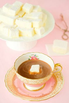 Made passion fruit marshmallows and tried drinking hot chocolate with marshmallows for the first time ever. Still tasted like chocolate. Anyway the marshmallows were delicious on their own. Chocolate Marshmallows, Hot Chocolate, Homemade Marshmallows, High Tea, Afternoon Tea, Sweet Recipes, Easy Recipes, Tea Time, Nutella