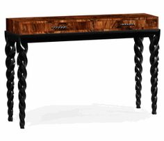 Limited Production Design & Stock: Elegant Barley Twist Console Table * Hand Carved Tropical Walnut* Black lacquer Legs * 60 x 16 x 38 inches * Partner Wall Mirrors, Coffee Tables, Side Tables, Chests & Nightstands Available