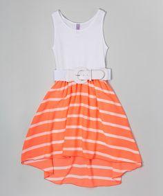 Love this Neon Coral & White Stripe Belted Hi-Low Dress - Girls on #zulily! #zulilyfinds