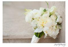 bride wedding bouquet - white peonies & white roses