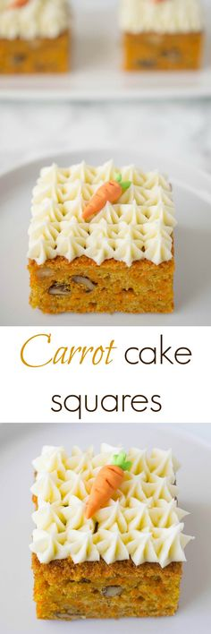 Easy and moist carrot cake made sheet cake style and cut into squares. These…