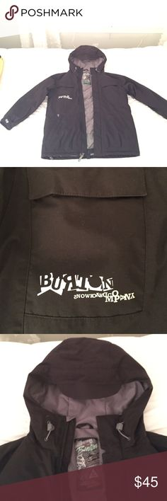 Burton snowboard winter Jacket youth size XLarge Black snow jacket comes with a lot of zip pockets snaps to keep you warm in the winter hooded lightly used comes from a smoke free pet free home Burton Jackets & Coats Puffers
