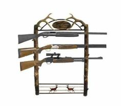 Big Game 5 Gun Wall Rack Hunting Camping Storage Sporting goods Knives Rifles