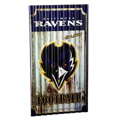 Officially Licensed NFL Corrugated Metal Weathered Wall Sign - Baltimore Ravens