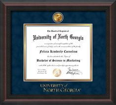 University of North Georgia - Diploma Frames : with official UNG Seal & Wordmark - Navy Suede on Gold Mat. Awesome graduation Gift idea!