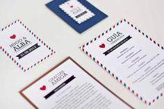 Morestopandthink | Invitación de boda Think in travel. Detalles de boda para invitados: etiqueta regalo y etiqueta de vino. Tarjeta de agradecimiento para los invitados más queridos y guía de ceremonia.