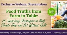 It's going to be a fun day... looking forward to giving this webinar for #dietitians with @leahmcgrathdietitian for Today's Dietitian at 2 pm ET today. We will be talking about truth versus food marketing claims. Continuing education credits available plus you can receive the webinar for free if you order the Food Truths book also accredited for eight CEs.