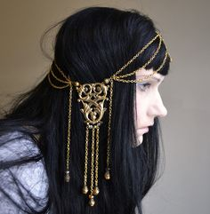 Ambergris Art Nouveau GoddessChain Headpiece by ravenevejewelry, $89.00