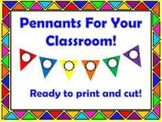 Brighten up your classroom with these colorful pennants!Just print, cut, & laminate them. Then use a dry erase marker to write numbers or letters. Voila! Reusable pennants!Colors include red, blue, yellow, orange, green and purple.There are two pennants of the same color on a page for your convenience.Alternate red and green for winter holidays.Alternate red and blue for patriotic holidays.Make a pennant banner using only your school color.Lots of uses!More suggestions are provided.