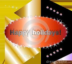 Christmas wishes and happy holidays on golden and black background.
