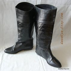 Vintage Nine West Leather Riding Boots / size 6 M Eu 36 UK 3