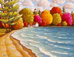 Fine Art Print 8x11 Cottage Beach Trees Summer por SoloWorkStudio