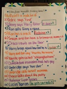 A Very Potter Musical and Sequel drinking game hahaha @Alyssa Tempesta we need to do this