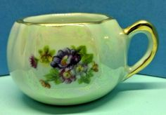 Pretty Limoges Porcelain Miniature Chamber Pot Ornament Pearlised Ref 935 UK Dresden China, First Finger, China Porcelain, Blue Gold, Tea Pots, Miniatures, Ornaments, Antiques, Pretty