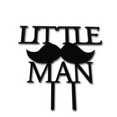 Little Man Black Cake Topper Baby Shower Gender Reveal Party Mustache Gentleman