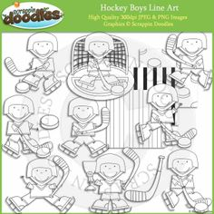 Hockey Boys Line Art